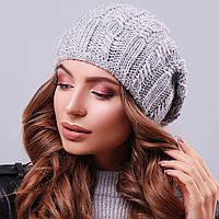 Вязаная женская серая шапка