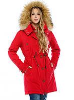 Зимняя парка с мехом женская теплая куртка удлиненная, красная
