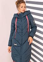 """Зимнее стеганное женское пальто """"Ардана""""- изумруд NV - 022"""
