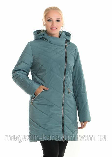 Осенняя стеганная женская куртка ДЛ 92 мята (44-60)