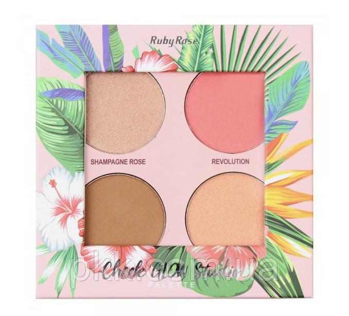 Палетка для макияжа лица Ruby Rose Cheek Glow StudioHB-7506