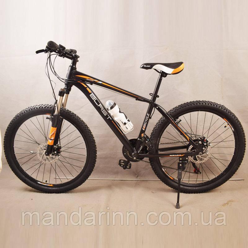 Велосипед горный S300 BLAST-БЛАСТ. Диаметр колёс 26'',Рама 17'' алюминий, Чёрно-Оранжевый
