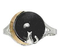 """Женское серебряное кольцо с золотыми пластинами """"Лунный свет"""" авантюрин Ночь Каира, фото 1"""