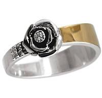 """Женское серебряное кольцо с золотой пластиной """"Сильфида"""", фото 1"""