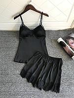 Атласный комплект майка и шорты с черным кружевом Черный XL (48), фото 1