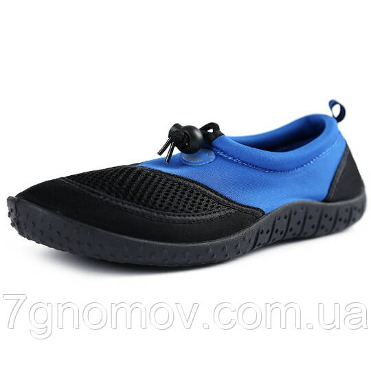 Тапочки для кораллов, аквашузы, обувь для плавания синие с черным