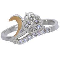 """Женское серебряное кольцо с золотой пластиной """"Аленький цветочек"""", фото 1"""