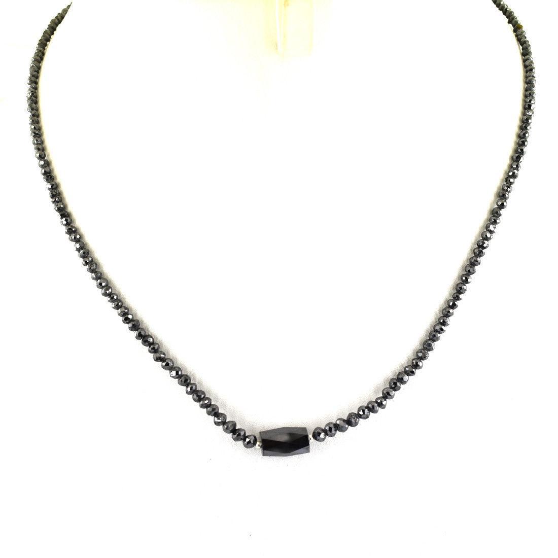 Колье , бусы 2 мм черный бриллиант . Длина 43 см .Сертификат