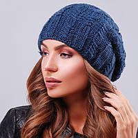Женская синяя вязаная шапка