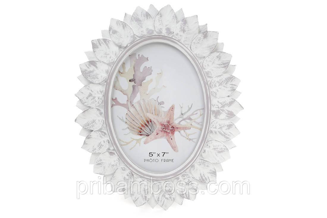 Рамка для фото овальная, 26см, цвет - белый антик