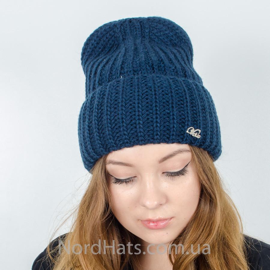 Вязаная женская шапка оптом , (Темно-синий) оптом от ...