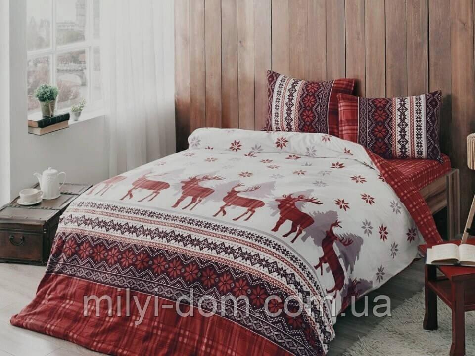 Набор новогоднего постельного белья Snow White (фланель, евро-размер)