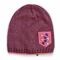 Двойная демисезонная детская шапка для девочки.