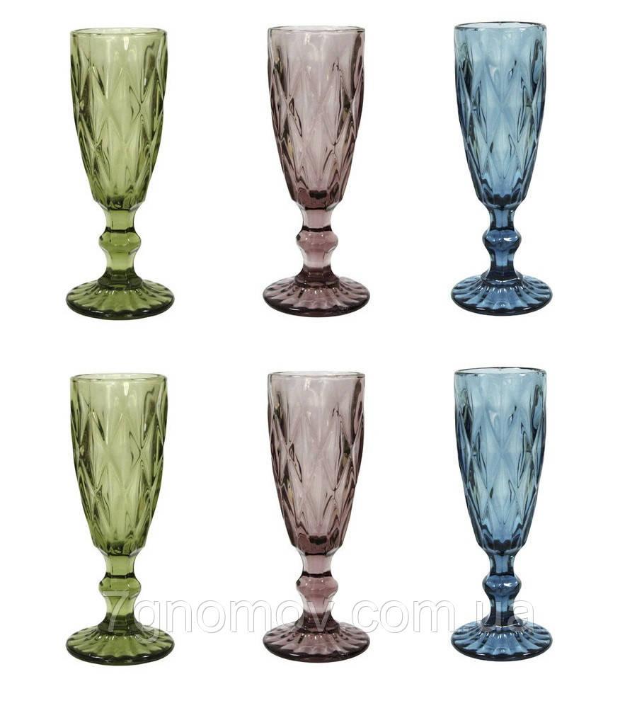 Набор 6 бокалов для шампанского из цветного стекла Изольда 180 мл