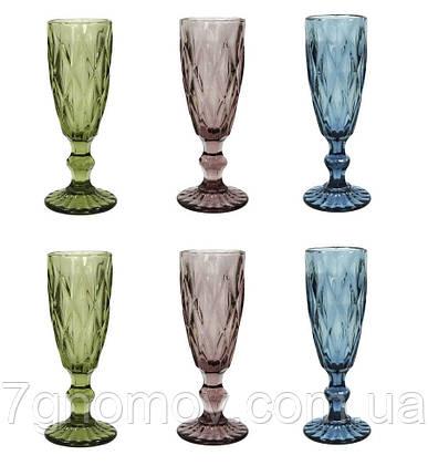 Набор 6 бокалов для шампанского из цветного стекла Изольда 180 мл, фото 2