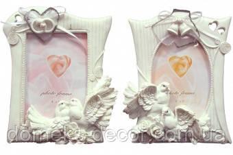Фоторамка свадебная белая с колокольчиками, фото 1