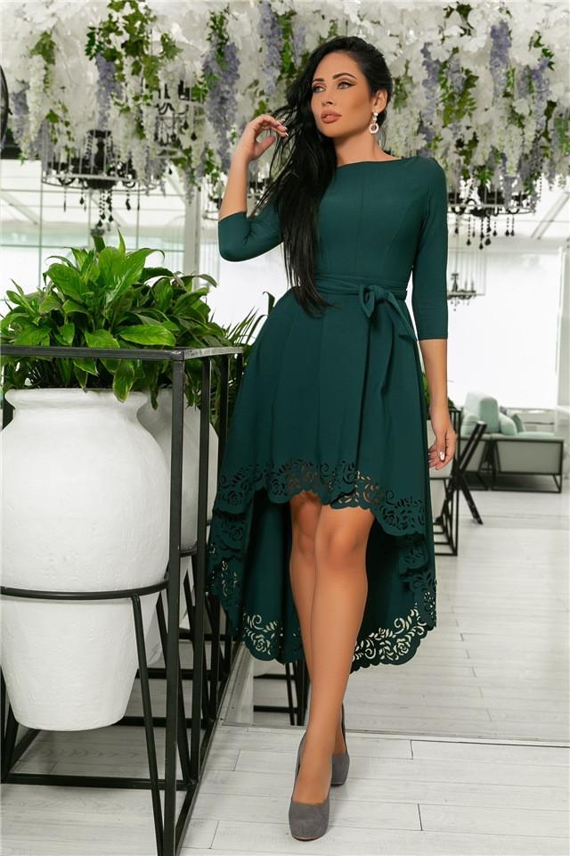 Женское Платье, цвет Изумруд (141)205-1. (5 цветов), Ткань: креп. Размеры: 42, 44, 46, 48, 50.