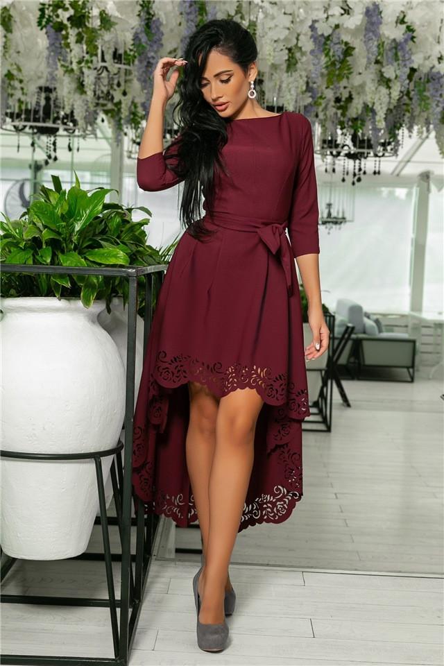 Женское Платье, цвет Марсал (141)205-3. (5 цветов), Ткань: креп. Размеры: 42, 44, 46, 48, 50.