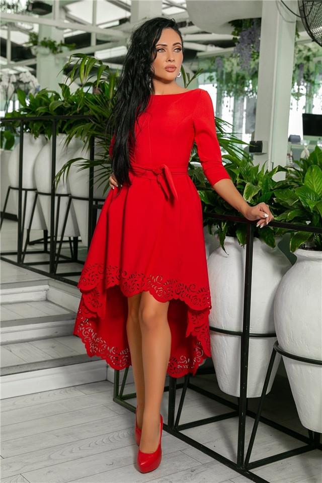 Женское Платье, цвет Красный (141)205-5. (5 цветов), Ткань: креп. Размеры: 42, 44, 46, 48, 50.