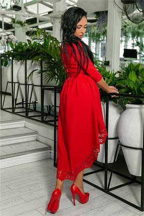 Женское Платье, цвет Красный (141)205-5. (5 цветов), Ткань: креп. Размеры: 42, 44, 46, 48, 50., фото 2