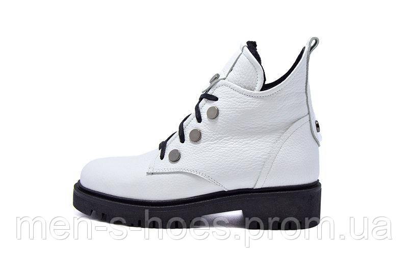 Женские ботинки кожаные белые Теона