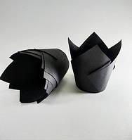 """Бумажные формы """"Тюльпан"""" черные, 25 шт"""
