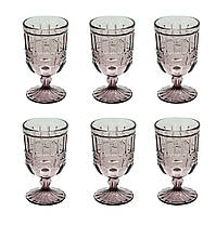 Набор 6 бокалов из цветного розового стекла Катрин 300 мл , фото 3