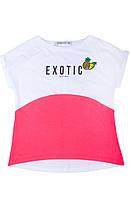 Футболка для девочки 16508 Goldi 140 Розовый с белым