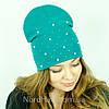 """Удлиненная двойная шапка  """"Молли"""", (Зеленый светлый), фото 3"""