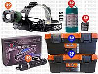 ⭐6пр. Налобный фонарик Police BL-2188B-T6 в наборе (ящики для инструмента,ручной фонарь Police BL-8628 и д.р.)