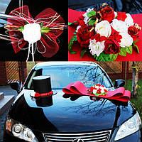 Украшения для свадебных машин шляпа+бант цвет красно-белый