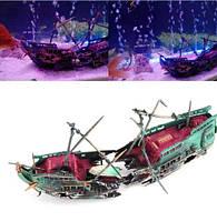 "Декор для аквариума ""Затонувший корабль"" - размер 24*12см, пластик"