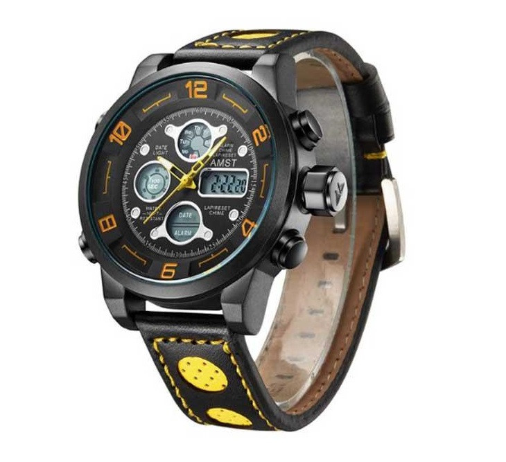 Наручные часы AMST 3020 Мужские наручные водонепроницаемые часы Черно-Желтый (SUN2203)