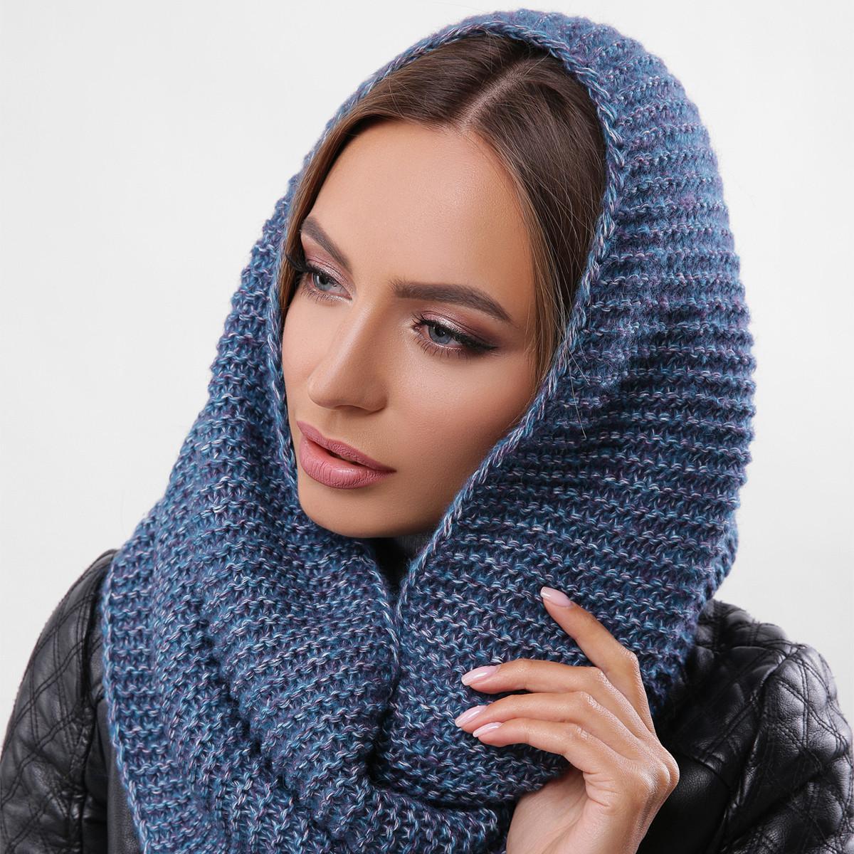 Модный молодежный вязаный снуд, шарф-хомут