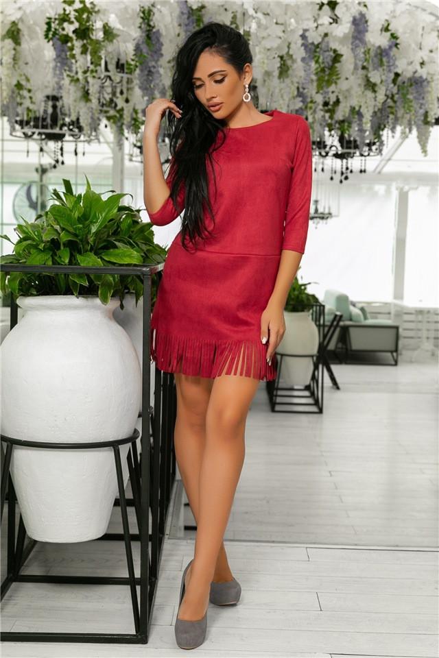 Женское Платье, цвет Гранат (141)717-3. (6 цветов), Ткань: Замша. Размеры: 44, 46, 48, 50.