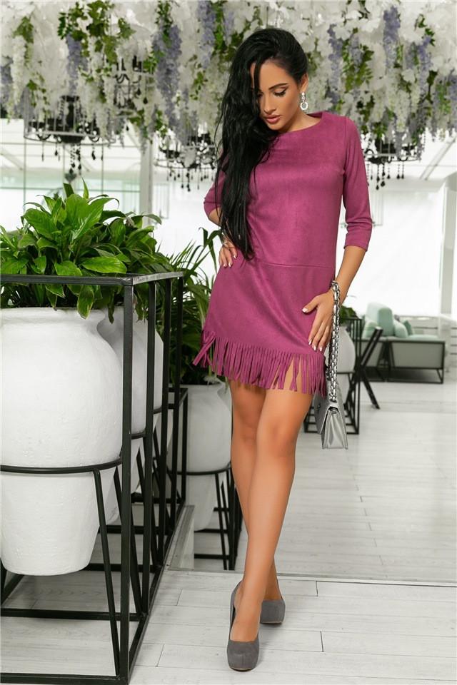 Женское Платье, цвет Слива (141)717-6. (6 цветов), Ткань: Замша. Размеры: 44, 46, 48, 50.