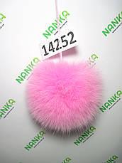 Меховой помпон Песец, Розовый, 12 см,14252, фото 2