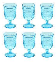 Набор 6 бокалов из цветного бирюзового стекла Катрин 300 мл , фото 3