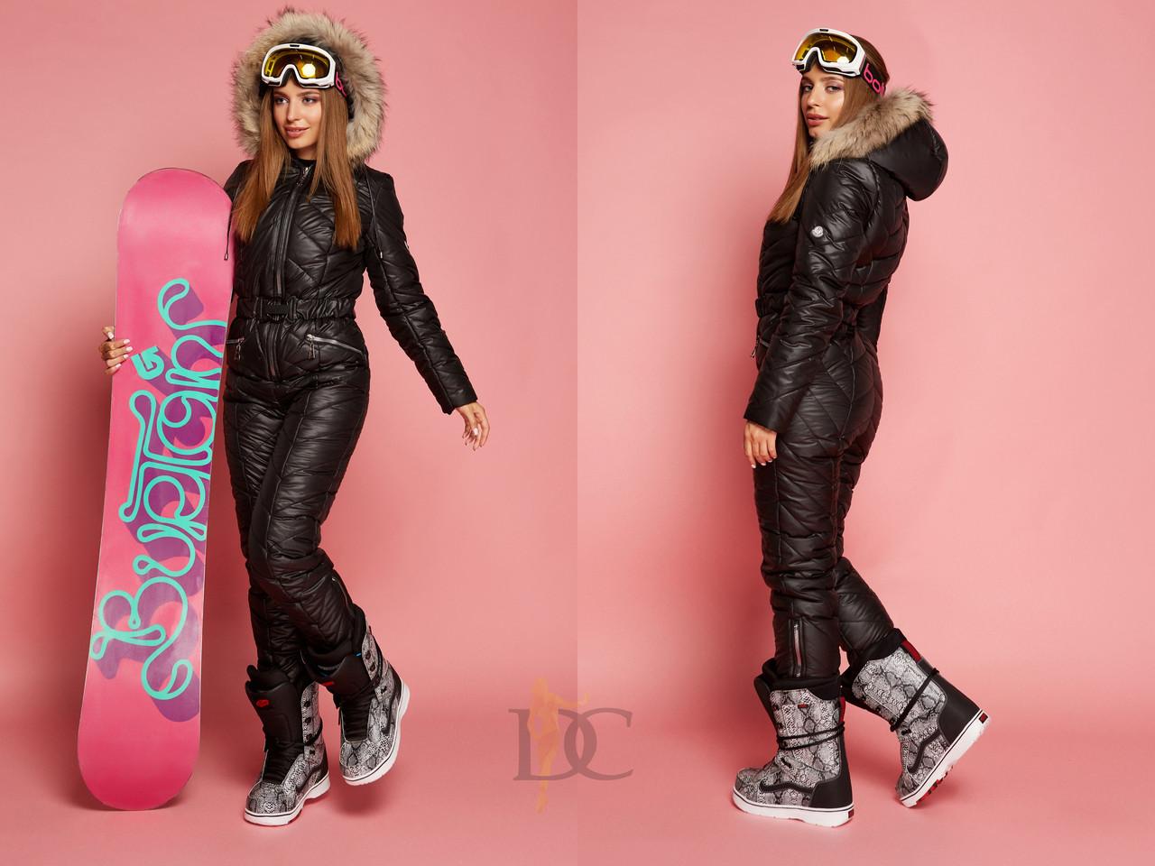 Женский лыжный комбез на зиму в черном цвете 310822