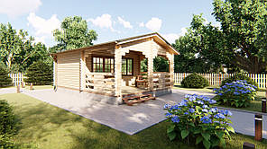 Дом из профилированного бруса с верандой 5.0х7.0. Кредитование строительства деревянных домов