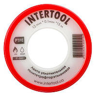 Лента тефлоновая, фум 15 м*0.1 мм*12 мм, 0.2 г/см³ INTERTOOL IT-0001