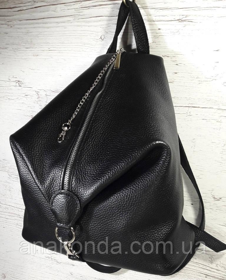 291 Натуральная кожа Черный городской кожаный рюкзак женский из натуральной кожи Карабин антивор