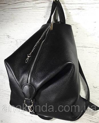 291 Натуральная кожа Черный городской кожаный рюкзак женский из натуральной кожи Карабин антивор, фото 2