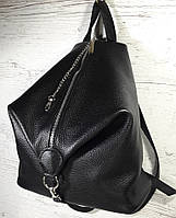 """291 Натуральная кожа, Городской рюкзак кожаный черный рюкзак женский черный рюкзак с карабином """"антивор"""""""