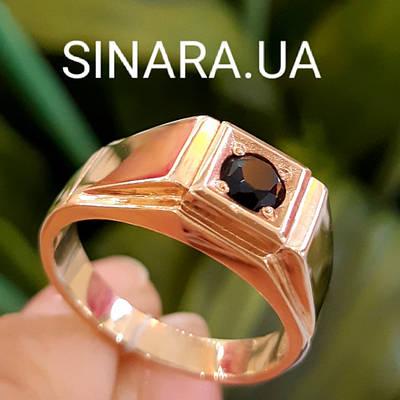 Золотая мужская печатка с Ониксом - Мужское кольцо с ониксом золото