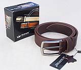Кожаный коричневый ремень Maybik + коробка, фото 2