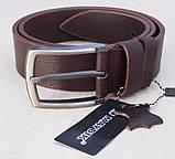 Кожаный коричневый ремень Maybik + коробка, фото 3