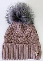 Жіноча зимова шапка. Хутряний бубон. Флісова підкладка. Троянда.