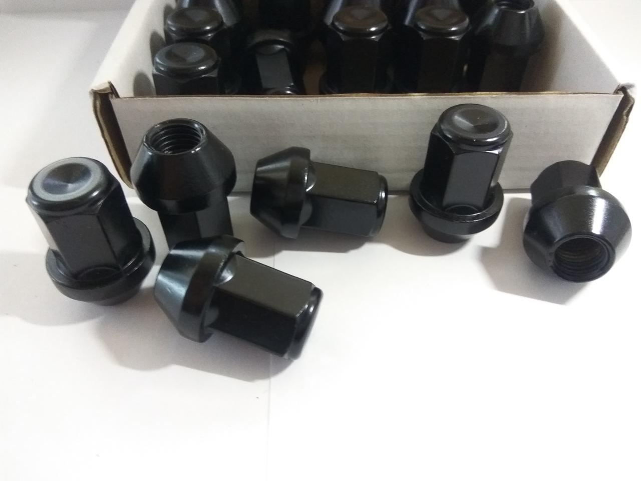 Гайка колесная черная М12*1.5 конус, высокая (L=34mm) для литых дисков Mazda, Kia, Hyundai