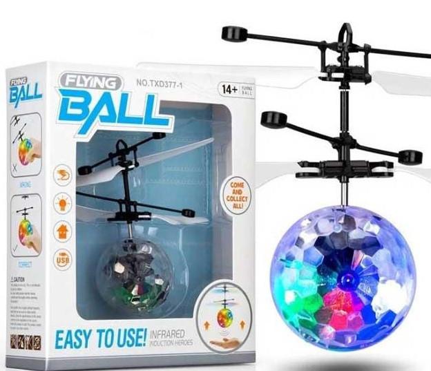 Интерактивная игрушка SUNROZ Flying Light Ball летающий светящийся мяч с сенсором движения Прозрачный(SUN2212)